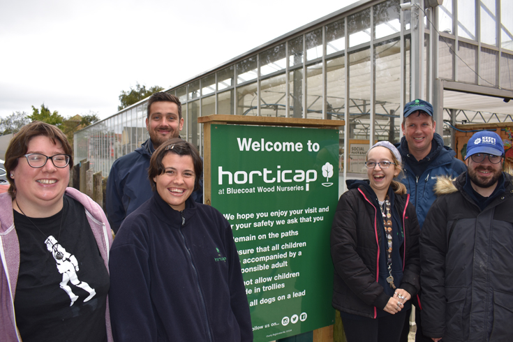 Pictured above: Lewis Stokes of The Banks Group, back left, with some of the Horticap
