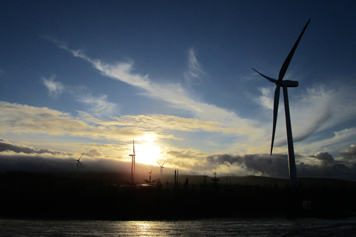 Kype Muir wind farm at dusk