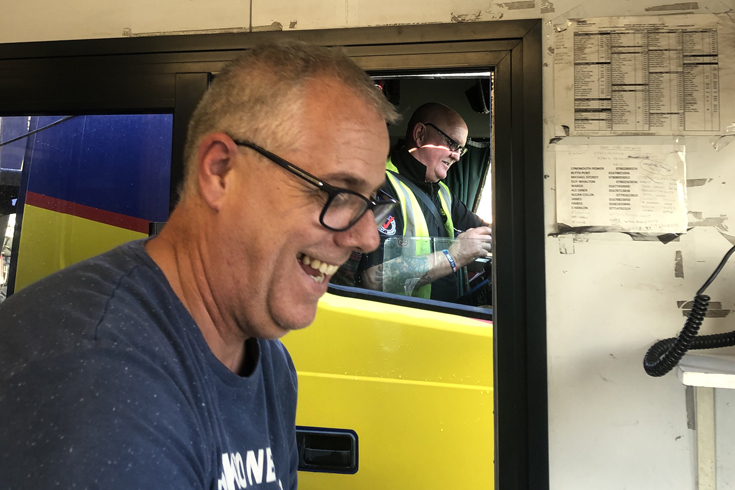 Steve Simmons, receiving his data sheet on his way out of Shotton, from Kevin Scott on the weighbridge