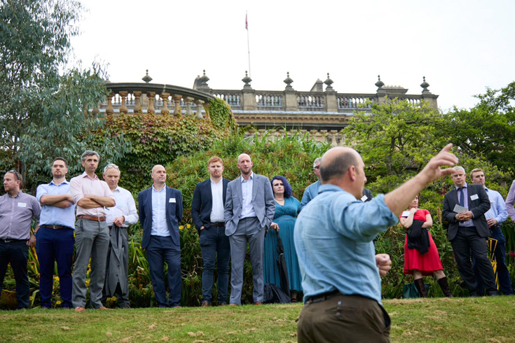 <p>Pictured above: The head gardener at Harewood House talking to the event guests on the tour of the gardens</p>